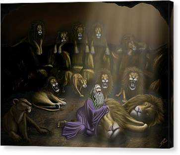 Daniel And The Lions Den Canvas Print by Shane Robinson