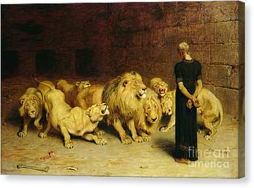 Lion Canvas Print - Daniel In The Lions Den by Briton Riviere