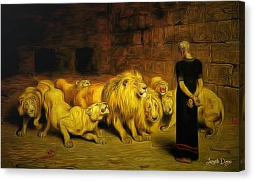 Daniel In The Lions' Den - Da Canvas Print by Leonardo Digenio