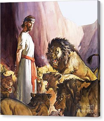 Daniel In The Lions' Den Canvas Print by James Edwin McConnell