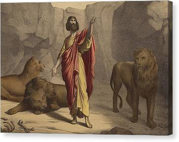Daniel In The Lion's Den Canvas Print by Jean-Baptiste Auguste Leloir