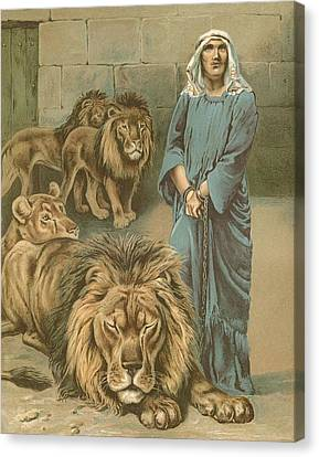 Daniel In The Lions Den Canvas Print by John Lawson