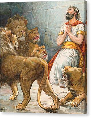 Daniel In The Lion's Den Canvas Print by Robert Ambrose Dudley