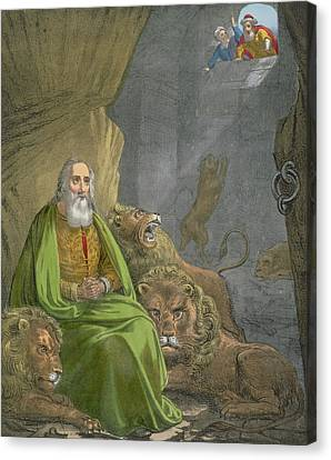Daniel In The Lions' Den Canvas Print by Siegfried Detler Bendixen