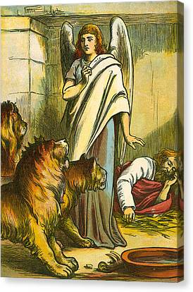 Daniel With The Lions Canvas Print by English School