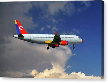 Airlines Canvas Print - Danish Air Transport Airbus A320-233 by Nichola Denny