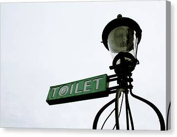 Toilet Canvas Print - Danish Toilet Sign by Linda Woods