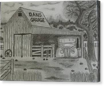 Old Shed Canvas Print - Dans Garage by Linda Humphries