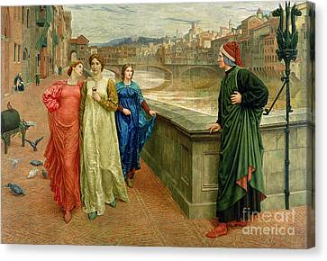 Dante And Beatrice Canvas Print by Henry Holiday