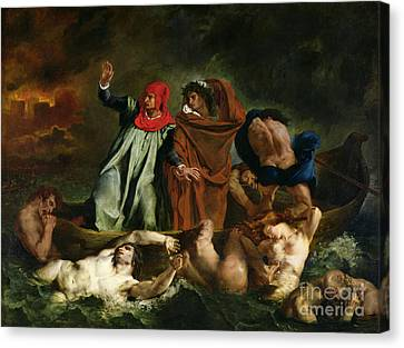 Virgil Canvas Print - Dante And Virgil In The Underworld by Ferdinand Victor Eugene Delacroix