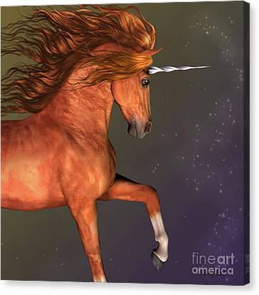 Dapple Chestnut Unicorn Canvas Print by Corey Ford