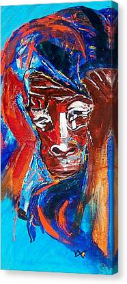 Darfur - She Cries Canvas Print by Valerie Wolf