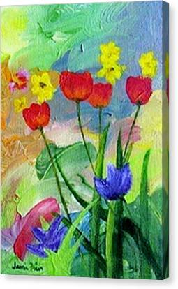 Canvas Print featuring the painting Daria's Flowers by Jamie Frier