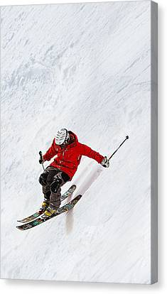 Athletic Sport Canvas Print - Daring Skier Flying Down A Steep Slope by Elaine Plesser