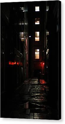 Redlight Canvas Print - Dark Alley by Michael Derez
