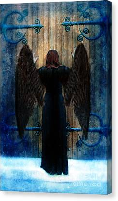 Dark Angel At Church Doors Canvas Print by Jill Battaglia