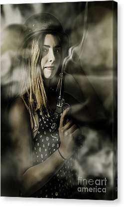 Dark Artwork Of A Female Soldier In Pistol Smoke Canvas Print by Jorgo Photography - Wall Art Gallery