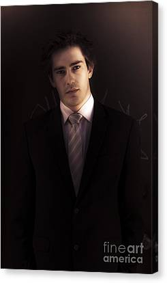 Dark Business Man Standing In Shadows Canvas Print by Jorgo Photography - Wall Art Gallery
