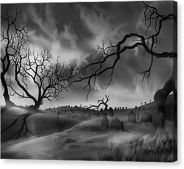 Canvas Print featuring the painting Dark Cemetary by James Christopher Hill