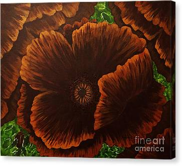 Dark Chocolate Poppies Canvas Print by Barbara Griffin