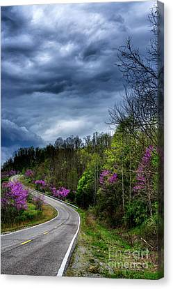 Canvas Print featuring the photograph Dark Clouds Over Redbud Highway by Thomas R Fletcher