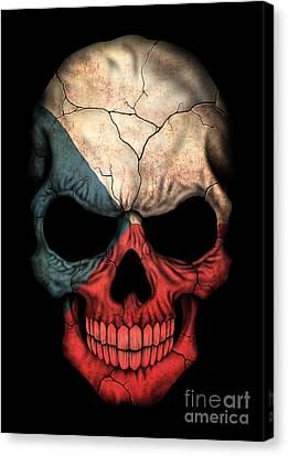Dark Czech Flag Skull Canvas Print by Jeff Bartels