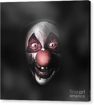 Dark Evil Clown Face With Scary Joker Smile Canvas Print by Jorgo Photography - Wall Art Gallery