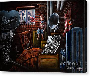 Canvas Print featuring the painting Dark Exile by Michael Frank