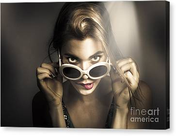 Sexy Brunette Women Canvas Print - Dark Fashion Pinup Model by Jorgo Photography - Wall Art Gallery