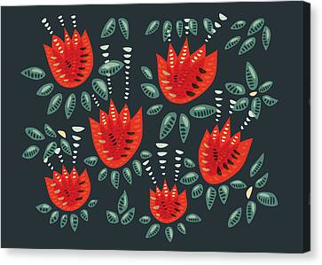 Dark Floral Pattern Of Abstract Red Tulips Canvas Print