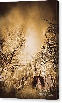 Dark Forest Hut Canvas Print by Jorgo Photography - Wall Art Gallery