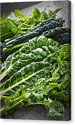 Fiber Canvas Print - Dark Green Leafy Vegetables by Elena Elisseeva