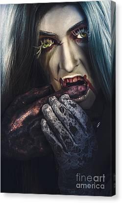 Dark Halloween Horror Portrait. Creepy Vampire Canvas Print by Jorgo Photography - Wall Art Gallery