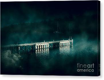 Dark Haunting Wooden Pier Canvas Print by Jorgo Photography - Wall Art Gallery