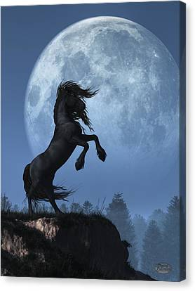 Dark Horse And Full Moon Canvas Print
