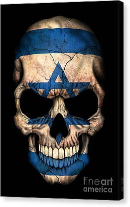 Dark Israeli Flag Skull Canvas Print