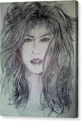 Dark Jessica Biel Canvas Print