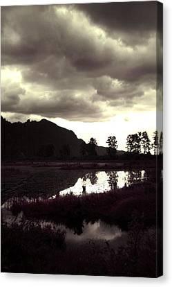 Dark Lake Canvas Print by Liz Towers