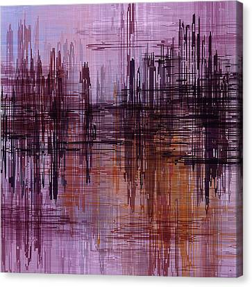 Canvas Print featuring the painting Dark Lines Abstract And Minimalist Painting by Ayse Deniz