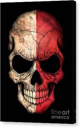 Maltese Canvas Print - Dark Maltese Flag Skull by Jeff Bartels