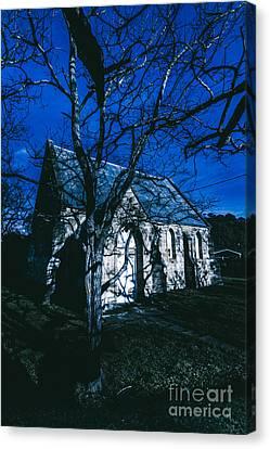 Moonlit Canvas Print - Dark Mysterious Church by Jorgo Photography - Wall Art Gallery
