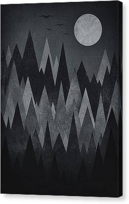 Dark Mystery Abstract Geometric Triangle Peak Woods Black And White Canvas Print by Philipp Rietz