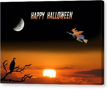 Dark Night Halloween Card Canvas Print by Adele Moscaritolo
