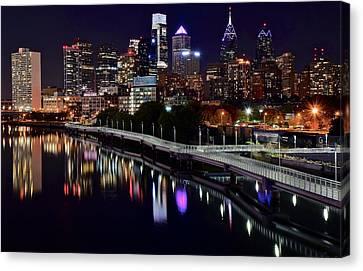 Rocky Statue Canvas Print - Dark Night In Philadelphia  by Frozen in Time Fine Art Photography