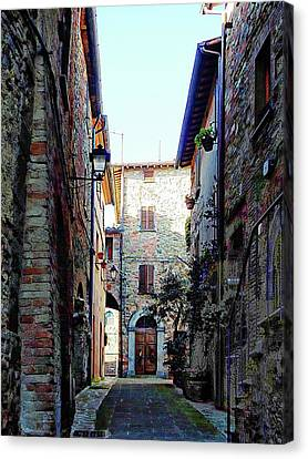 Dark Passageway In Panicale Canvas Print by Dorothy Berry-Lound