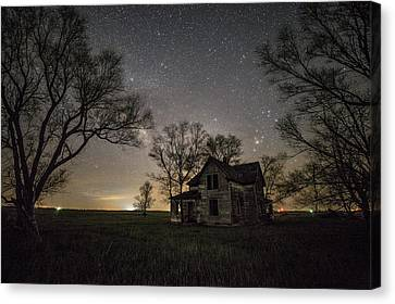 Abandoned Houses Canvas Print - Dark Places On The Prairie  by Aaron J Groen