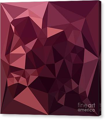Dark Raspberry Red Abstract Low Polygon Background Canvas Print