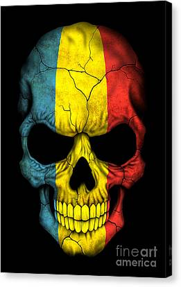 Dark Romanian Flag Skull Canvas Print