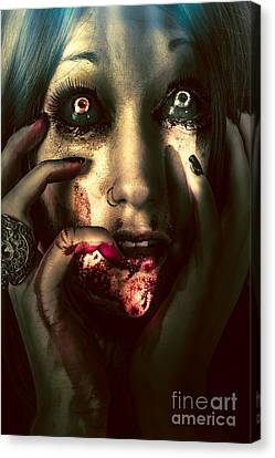 Dark Scary Female Face Expressing Bloody Fear Canvas Print