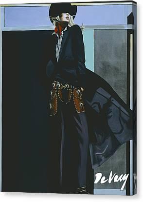Santa Fe Cowgirl Canvas Print - Dark Shadow by David DeVary